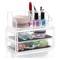 Weiai Cosmetic Jewelry Case Makeup Organizer Collection Box 2 Storage Drawers C28