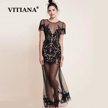 VITIANA Women Sexy Party Lace Maxi Long Dress Female 2018 Summer Short Sleeve See-through Mesh Embroidery Club Wear Dress
