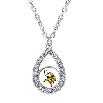 Various shapes Minnesota Viking logo rhinestone metal pendant necklace for men and womenfootball sports jewelry necklace