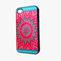 SALE Aztec iPhone Case fits 4 4S Pink Teal