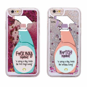 Sexy Repellent Spray FBoys Bitch Away Heart Quicksand Glitter Liquid Hard Case For iPhone 7 7Plus 6 6S 6Plus 5 5S SE 8 8Plus X