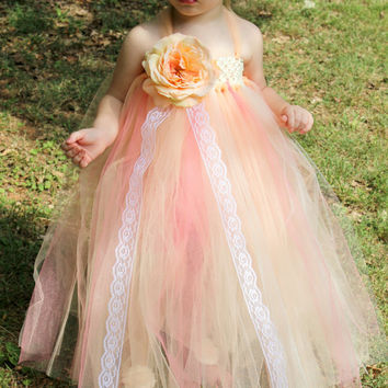 Peach tutu dress, flower girl dress, birthday dress, princess dress, girls tutu, girls dress, wedding, photo shoot, prop, peach and coral