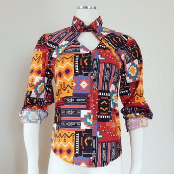 VIntage 90s Colorful Tribal Print Cutout Western Shirt - Women's Southwest Button Up Top - Size 3 4 Small