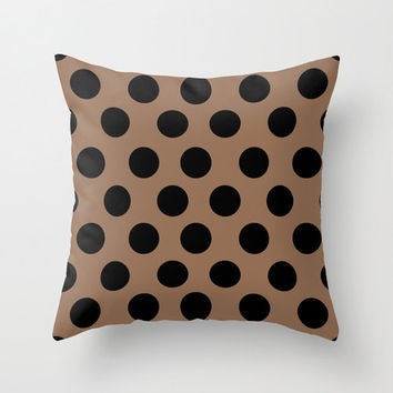CLASSY Brown And Black Polka Dots Pattern Throw Pillow