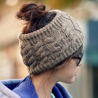 Warm Knitted Hemp Flowers Headband Shape Hat