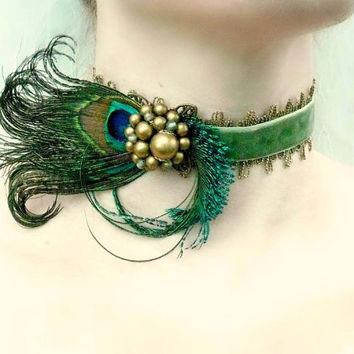 Absinthe - Green Velvet Gold Pearl Peacock Feather Choker - Burlesque Victorian Renaissance