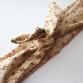 Tan Floral Dolly Bow Tie Up Wire Headband, Hair Wrap. Teens, Adults, Children's Hair Wraps