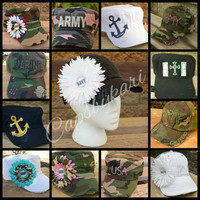 Military Hats, Army, Navy, Airforce, Marines. Moms, wife, girlfriend, daughter. All Military Hats on sale for Veteran's Day!