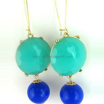 Mix Color Resin Earrings, Lake Blue and Royal Blue Dangle Earrings, Bubble Earrings (E0287-Lake Blue and Royal Blue)