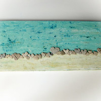 Unique Art - 3D Wall Decor with Actual Heart Shaped Beach rocks