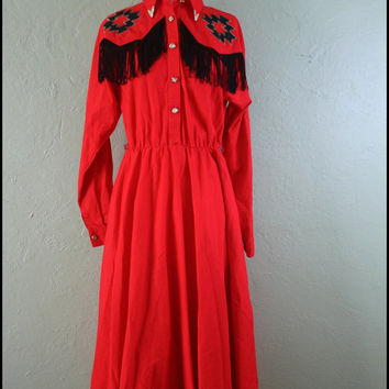 Vintage '80s Red Western Dress// Southwestern// by StoriesForBoys
