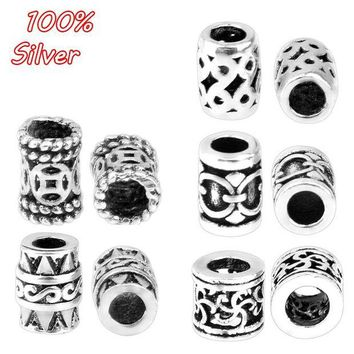 ac spbest 4pcs 925 pure silver fittings antique silver color oval pattern bead cap accessories
