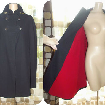 Vintage 40s WWII Navy & Red Wool Nurses Cape Military Uniform Cloak Marvin Neitzel One Size