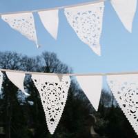 White Lace Wedding Bunting, White Vintage Lace Banner, Wedding Decoration | Luulla