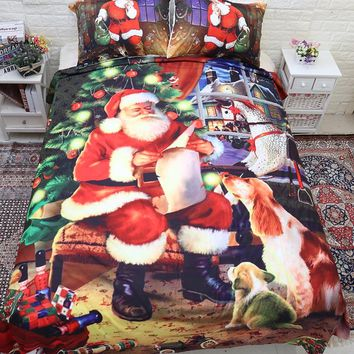 Christmas Bedding Sets Cartoon Bed Linen Duvet Cover Bed Sheets New Year Gift Bedding Cover Pillowcase Single Full Queen King
