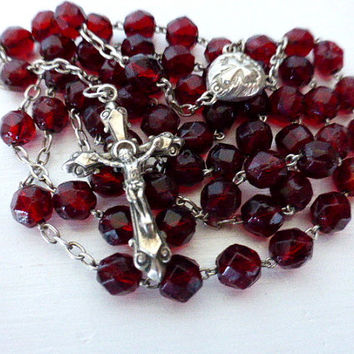 Antique French, Red, Garnet Glass, Hallmarked Silver Rosary, SHIPPING INCLUDED