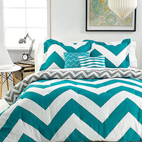 Chevron Teal 5 Piece Full/Queen Comforter Set