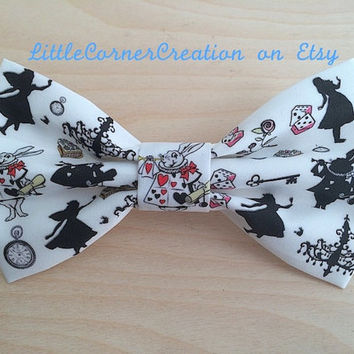 Alice In Wonderland  Themed Hair Bow  or   Bow Tie