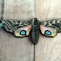 Chrysalis - Butterfly Necklace - Beige Moth with Pink, Blue, Black, Brown Markings - Baby Blue Dangles - Gunmetal Chain - Gift Box