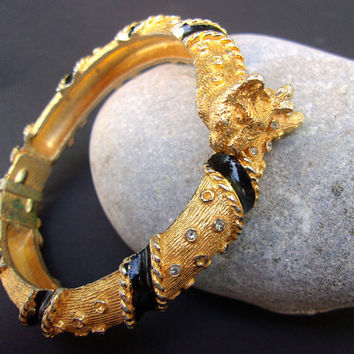 Leopard Cat Gold-tone CADORO Hinged Bracelet, Black Enamel, Vintage REDUCED