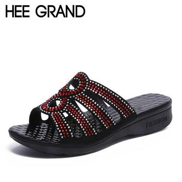HEE GRAND Woman Slides Crystal Bling Bling Slippers Wedges Shoes Women