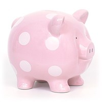 Child to Cherish Polka Dot Piggy Bank, Pink, Large