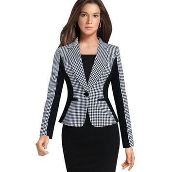 Womens Elegant Formal Long Sleeve Single Button Houndstooth Wear to Work Business Office Slim Suit Blazer Coat Outwear