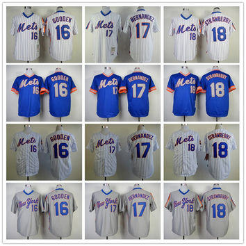 New York Mets 16 Dwight Gooden Baseball Jerseys Blue White Gray Embroidery Logos 17 Keith Hernandez 18 Darryl Strawberry Jersey