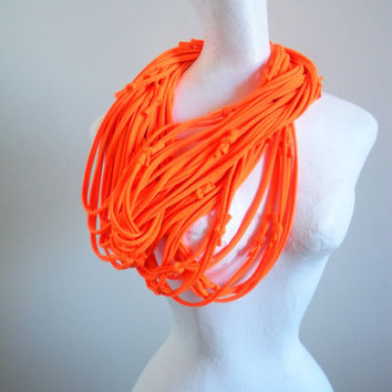 Neon Orange Infinity Scarf Upcycled Clothing Day Glow Orange Circle Scarf Safety Orange Bright Color Spring Fashion Cowl Scarf