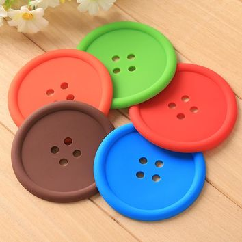 5pcs/set Silica Gel Shape Round Button Thermal Insulation Cup Bowl Pad Prevent Hot Placemat Candy Color