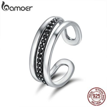 BAMOER High Quality Genuine 925 Sterling Silver Urban Style Black CZ Band Ring