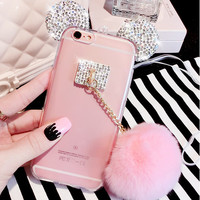 Hot Luxury Rhinestone Mickey Mouse Ear Pink Puffer Ball Cover Cases For iphone6 6S Plus For iphone7 7Plus For Samsung Lady Shell -0316