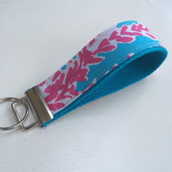 "Lilly Pulitzer - Let's Cha Cha - Keychain Wristlet Key Fob - 1.25"" webbing - 2 sizes available"
