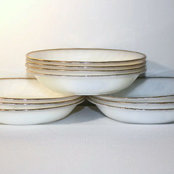 Anchor Hocking Fire King Oven Ware White Swirl Anniversary Soup Bowls Set of 10