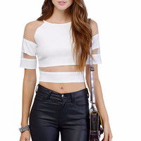 Short Sleeve Cut-Out Mesh Cropped Top