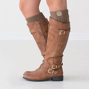 Monogrammed Light Brown Boot Cuffs  Font Shown INTERLOCKING in Ivory