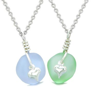 Twisted Twincies Heart Small Sea Glass Lucky Charm Love Couples BFF Set Pastel Purple Mint Green Necklaces