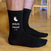 Perfectly Matched Monogram Socks, Valentine Socks, Custom Printed Personalized Men's Black Dress Socks Valentine Gift Idea, Couples Gift