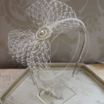 Vintage style headdress ,Birdcage wedding headpiece , headband Bridal hair accessories