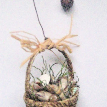 SEA SHELL BASKET- Miniature New England Basket of Real Sea Shells-a Primitive Folk Art Ornament