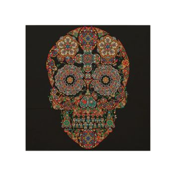 Colorful Sugar Skull Wood Wall Art