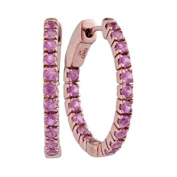 14kt Rose Gold Womens Round Pink Sapphire Hoop Earrings 1-1/4 Cttw