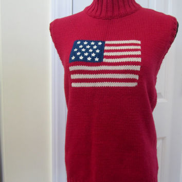 Vintage Red American Flag Tank Top Shell Patriotic Sleeveless Sweater Knit Shirt Mock Turtleneck Womens XL Red White and Blue