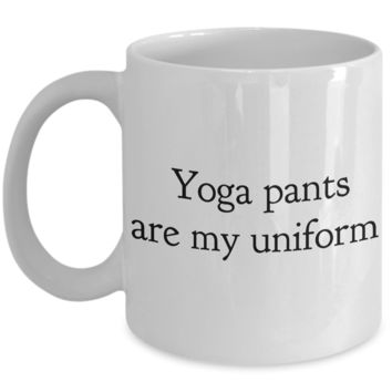 Yoga Pants Are My Uniform Mug Ceramic Coffee Cup Work from Home Mom Gift Yoga Gift