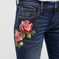 Free People Kelly Embroidered Baby Bootcut Jeans