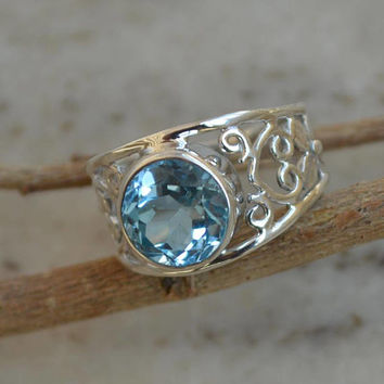 Blue Topaz ring,92.5 Sterling silver ring,silver Blue Topaz ring,gemstone ring,Gemstone silver ring,Topaz, women's ring handmade Round cut