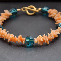 Orange Coral Bracelet, Blue Swarovski Crystal, Gold Stackable Jewelry