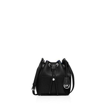 CREYIX5 MICHAEL Michael Kors Womens Greenwich Small Bucket Bag (Black/Electric Blue/Silver)