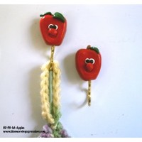 Red Apple Pot Holder Magnets Kitchen Refrigerator Polymer Clay Hooks - Blue Morning Expressions