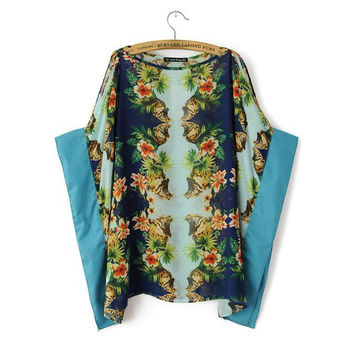 Blue Floral Print Sleeve Blouse